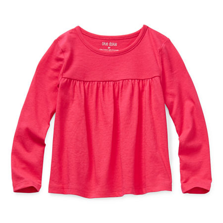 Okie Dokie Toddler Girls Round Neck Long Sleeve T-Shirt, 3t , Pink