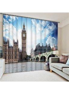 3D London Big Ben Printed Grand Buildings 2 Panels Custom Living Room Curtain