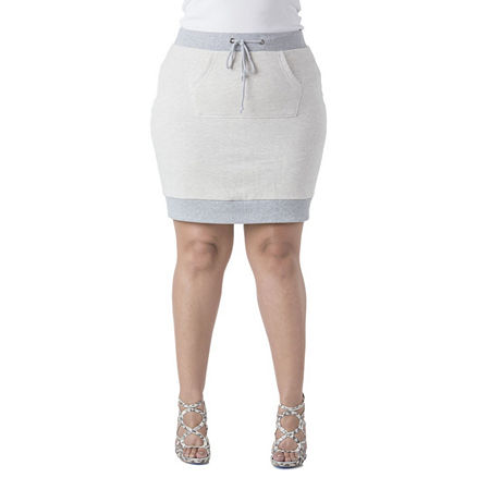 Poetic Justice French Terry Knit Skirt - Plus, 1x , Beige