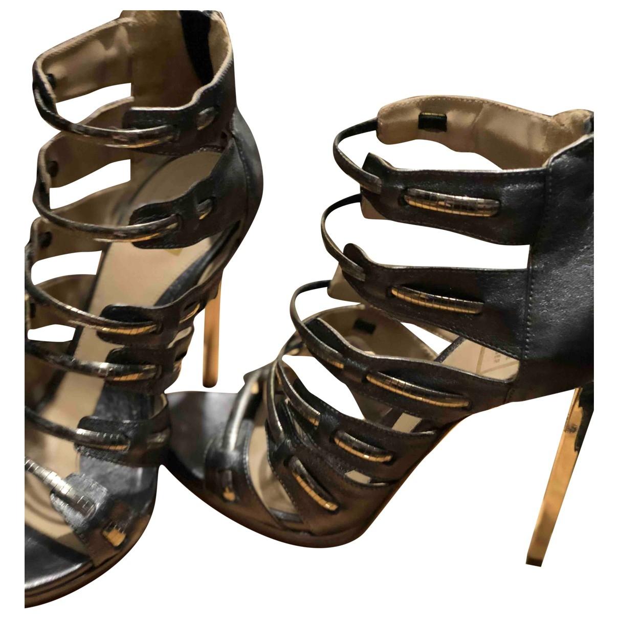 Herve Leger - Sandales   pour femme en cuir - gris