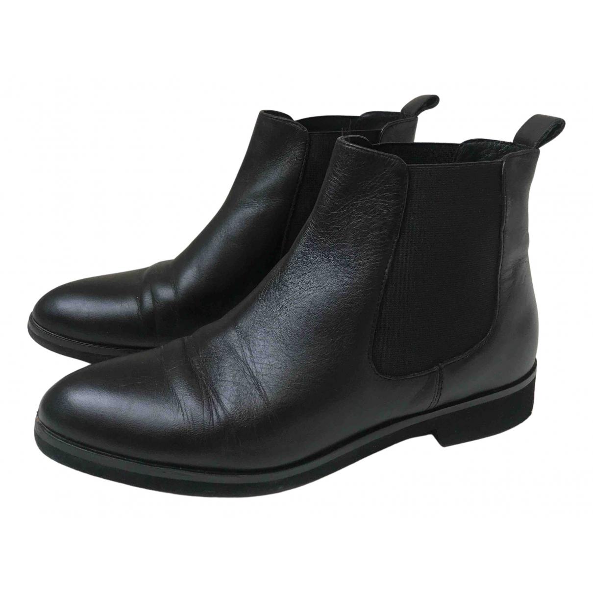 Hallhuber - Boots   pour femme en cuir - noir