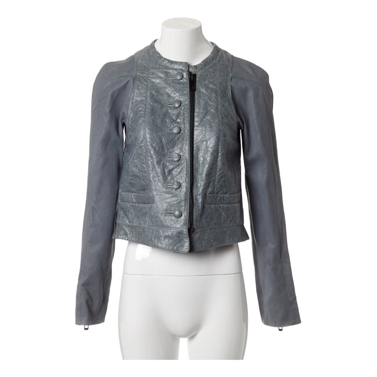Balenciaga N Blue Leather jacket for Women 40 FR