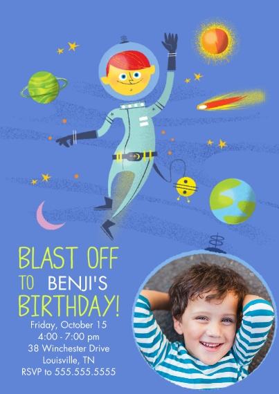 Kids Birthday Party Invites 5x7 Cards, Premium Cardstock 120lb with Elegant Corners, Card & Stationery -Blast Off Space Birthday