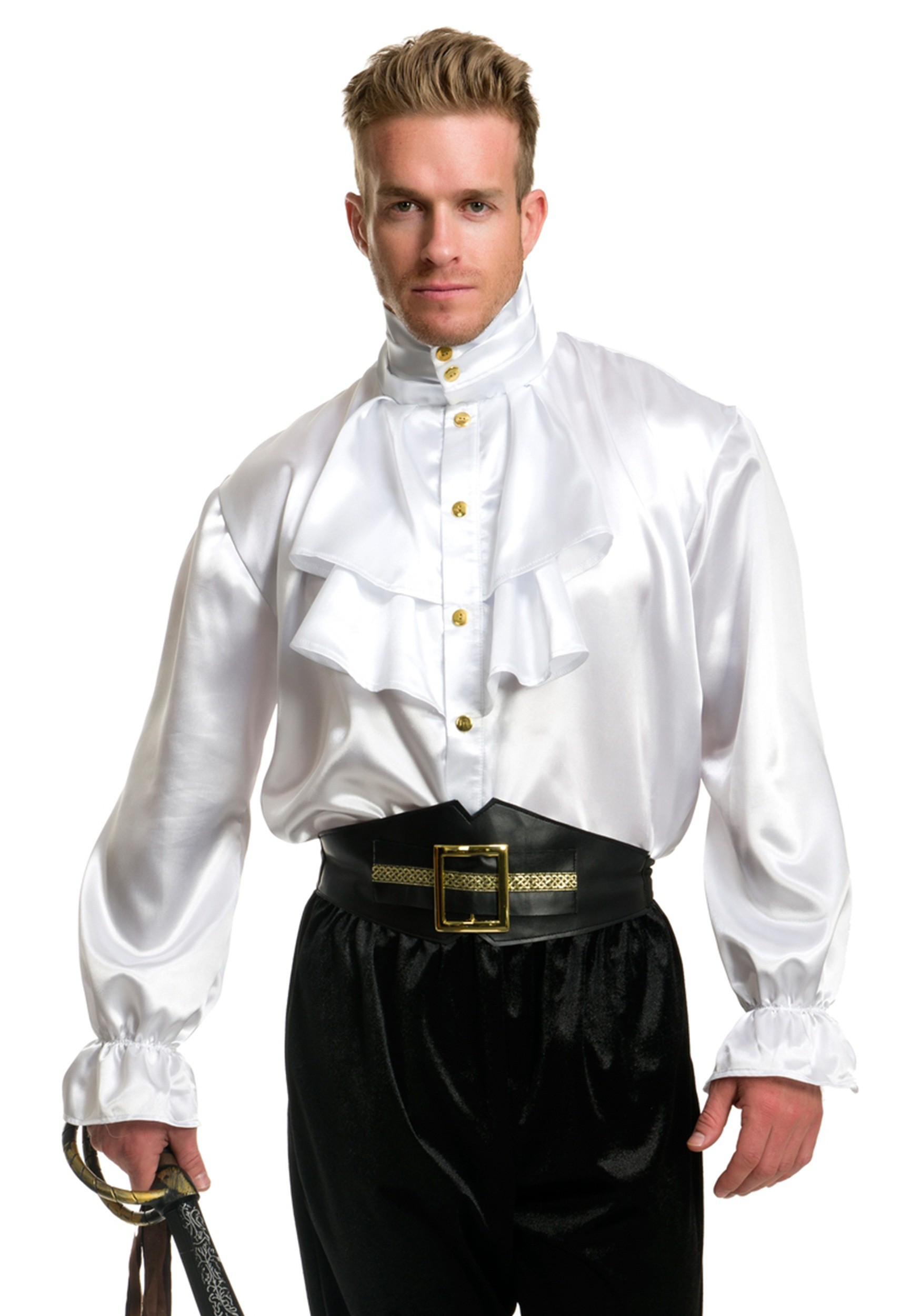 White Mens Satin Ruffle Shirt