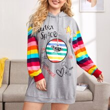 Plus Mixed Print Rainbow Striped Sleeve Hoodie Dress