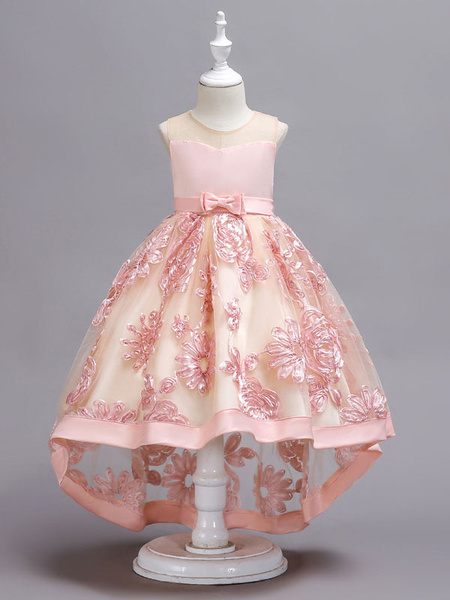 Milanoo Pink Flower Girl Dresses Lace High Low Kids Formal Dress Asymmetrical Little Girls Social Party Dress