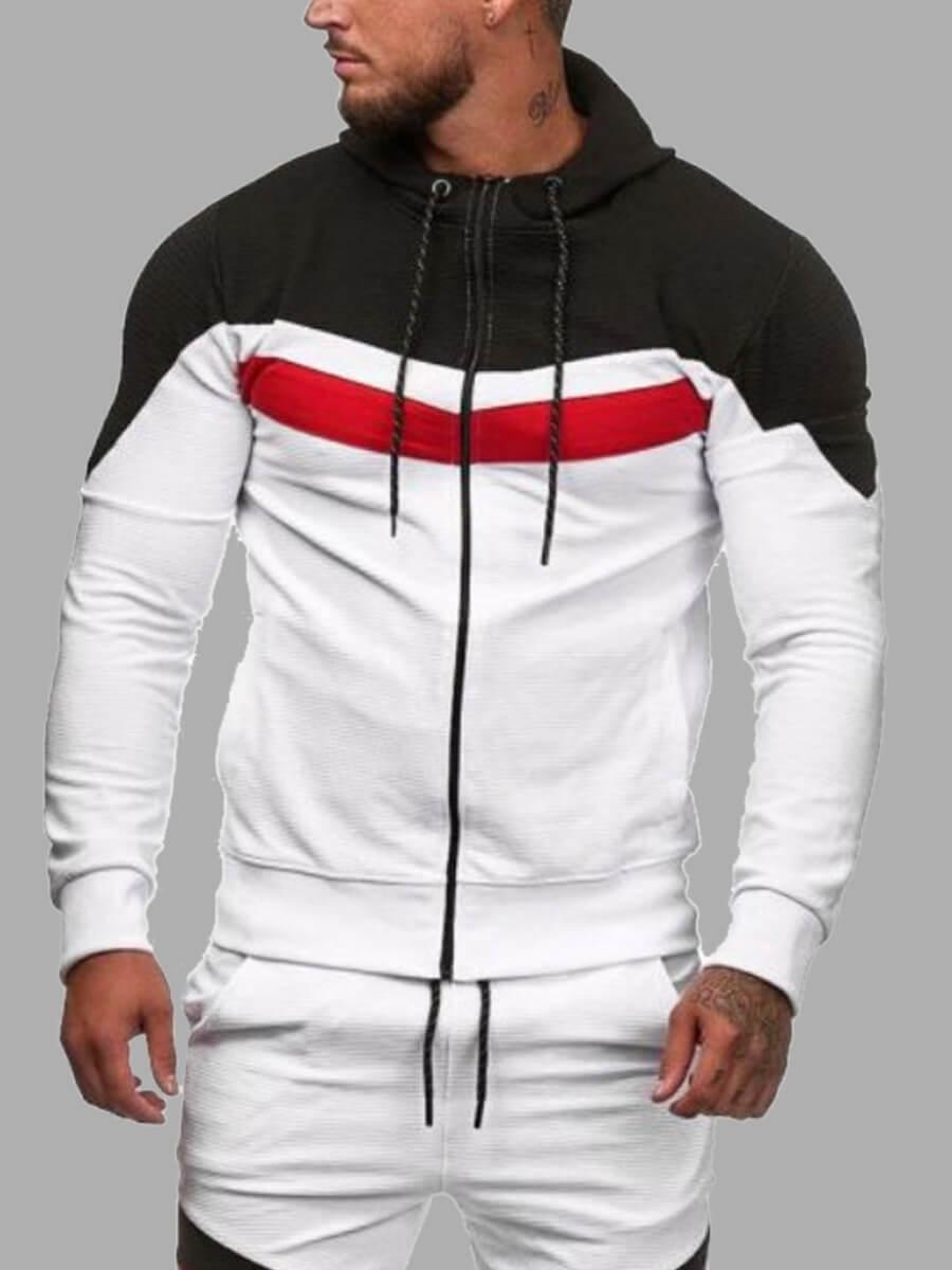 LW Lovely Sportswear Hooded Collar Patchwork White Men Hoodie