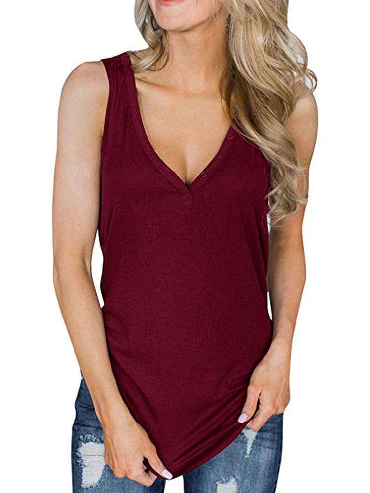 Women Solid Color V-Neck Sleeveless Tank Tops