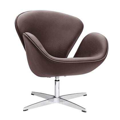 Swan Collection FMI1144-DARK BROWN Lounge Chair with Swivel Seat  Fibre Glass Frame  Contemporary Style  Fire Retardant Polyurethane Foam Padding and
