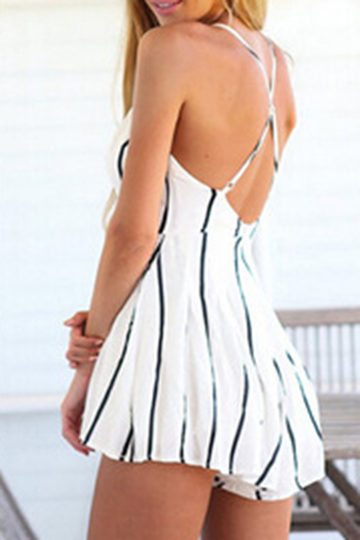 Yoins Sexy Plunge V-neck Crossed Straps Stripe Playsuit