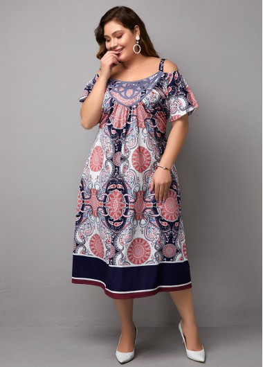 Women'S Multi Color Plus Size Cold Shoulder Spring Dress Bohemian Print Half Sleeve Midi Holiday Dress By Rosewe - 18W