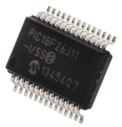 Microchip PIC18F26J11-I/SS, 8bit PIC Microcontroller, PIC18F, 48MHz, 64 kB Flash, 28-Pin SSOP