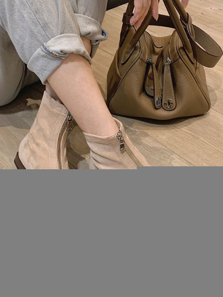 Milanoo Women Ankle Boots Elastic Fabric Apricot Square Toe Flat Boots
