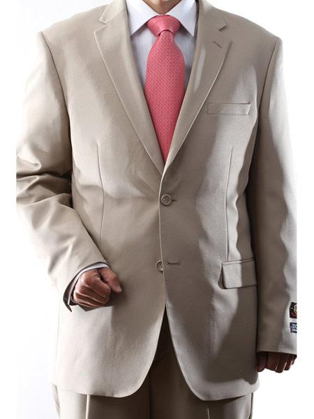 Men's Two Button Dual Side Vents Solid pattern 100% Polyester Suit