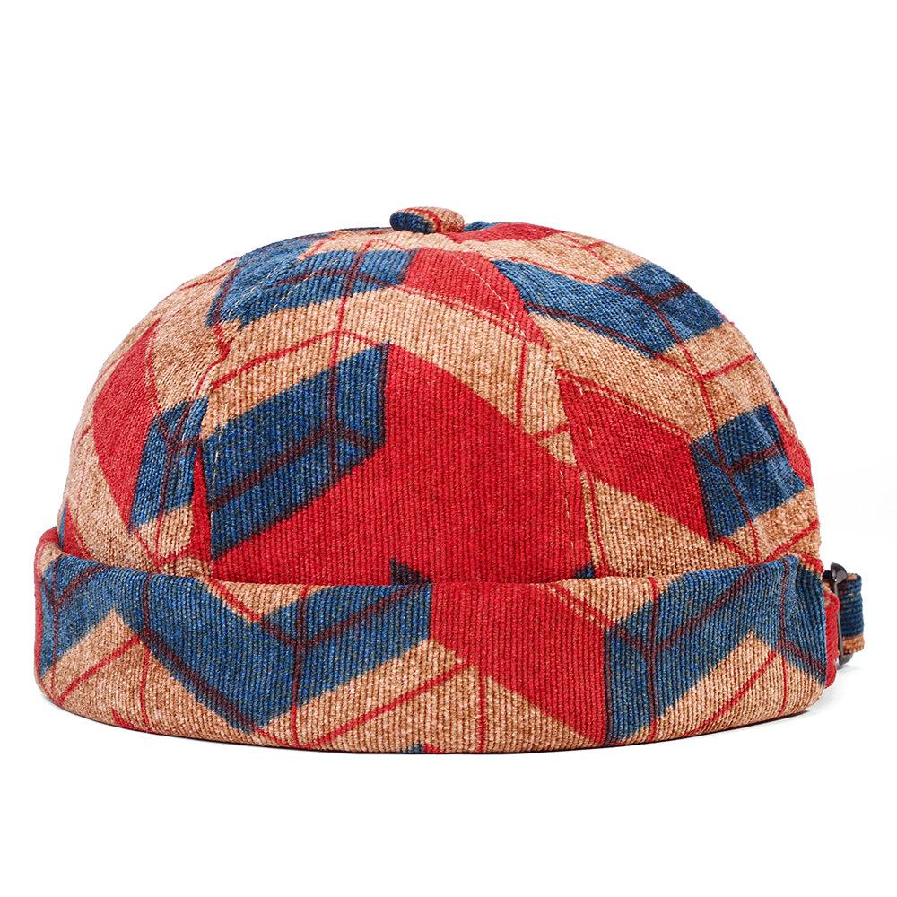 Collrown Men & Women Corduroy Irregular Patchwork Color Pattern Fashion Casual Brimless Beanie Landlord Cap Skull Cap