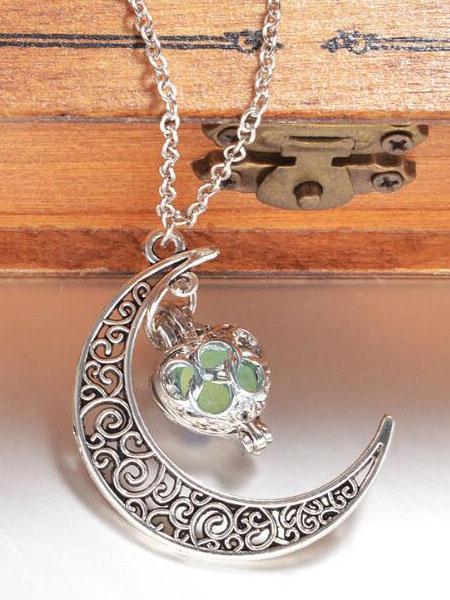 Milanoo Pendant Luminous Necklace Crescent Moon Alloy Boho Jewelry