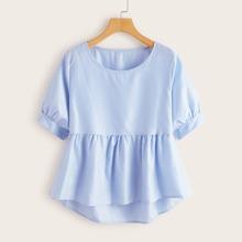Grosse Grossen - Babydoll Bluse mit Streifen und abfallendem Saum