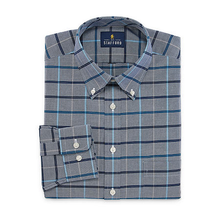 Stafford Mens Wrinkle Free Oxford Button Down Collar Fitted Dress Shirt, 14.5 32-33, Blue