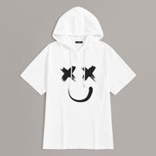Guys Smile Print Hooded Tee