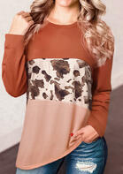 Cow Leopard Splicing Color Block Long Sleeve T-Shirt Tee - Brick Red