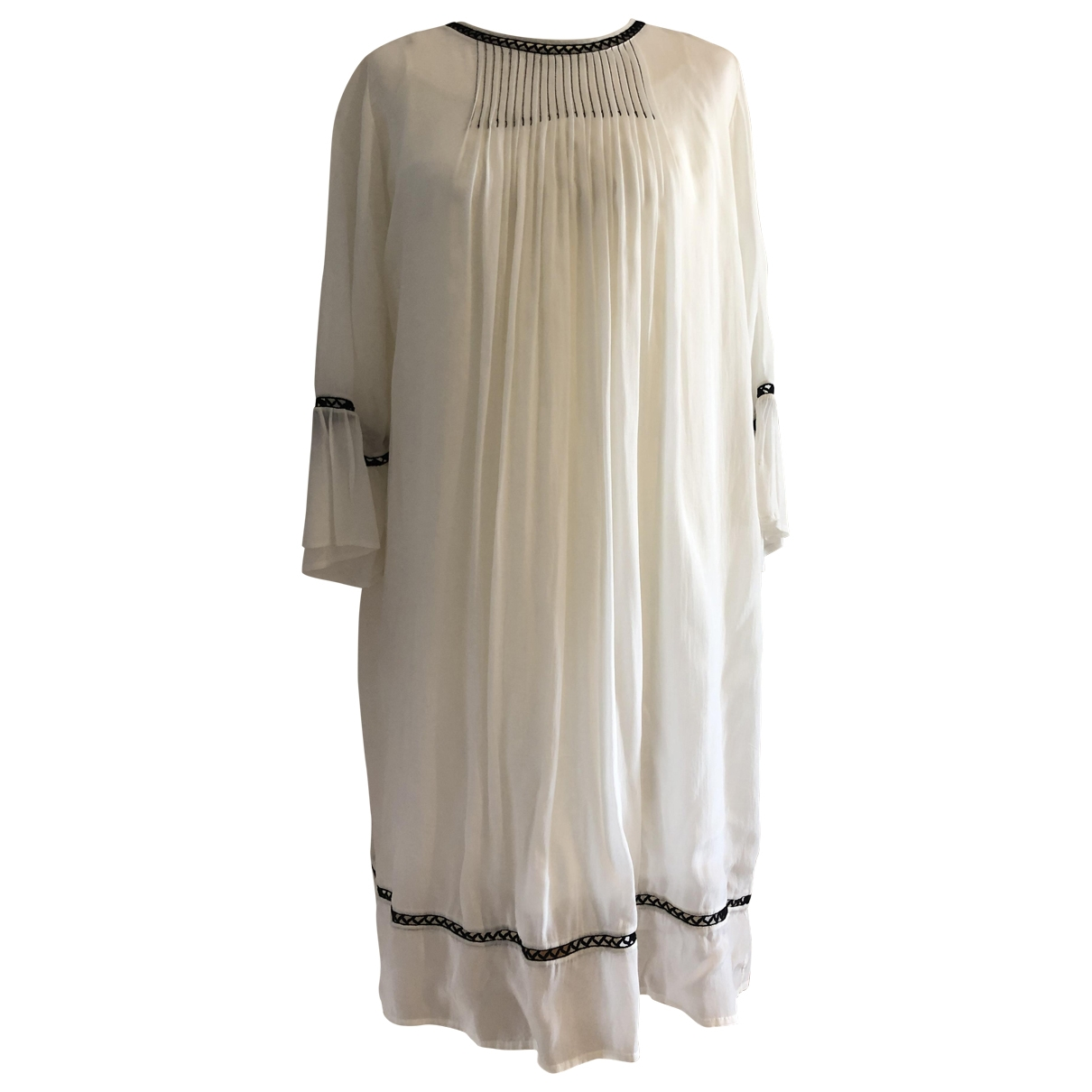 Velvet \N Kleid in  Weiss Seide