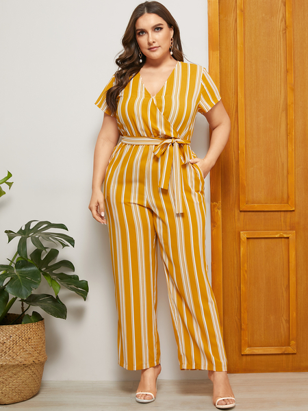 YOINS Plus Size Yellow Striped V-neck Short Sleeves Jumpsuit