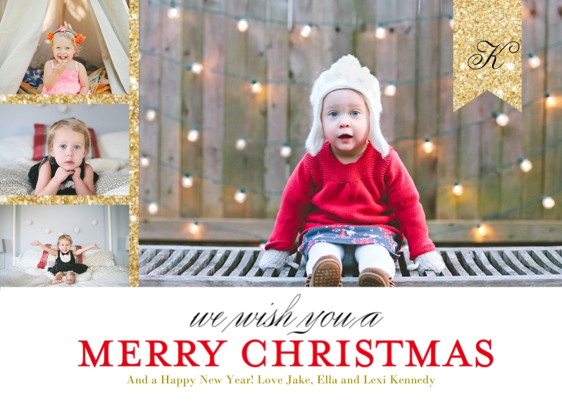 Christmas Photo Cards 5x7 Cards, Standard Cardstock 85lb, Card & Stationery -Modern Monogrammed Ribbon by Posh Paper