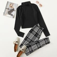 Solid Mock Neck Tee & Houndstooth Pants