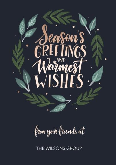 Seasonal Flat Business Greeting Cards, Business Printing -Elegant Wreath