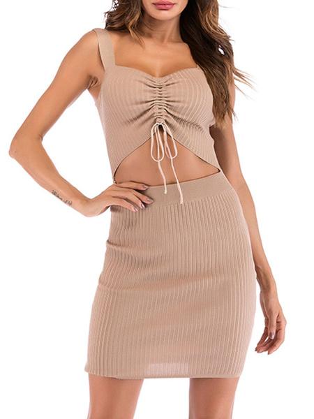 Milanoo Vestidos ajustados sexy Vestido de lapiz sin mangas con cordon recortado