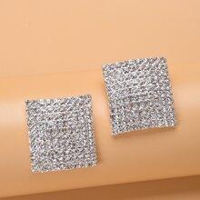 Rhinestone Square Decor Stud Earrings