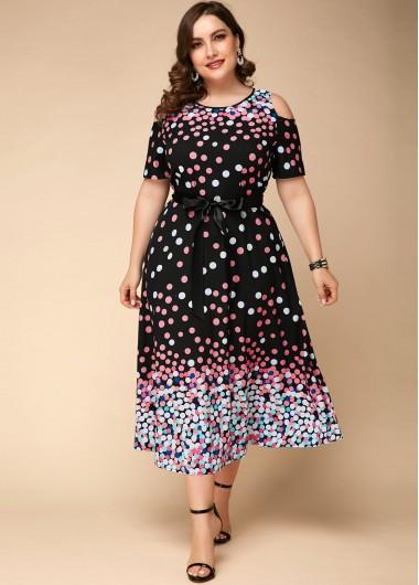 Plus Size Polka Dot Print Cold Shoulder Dress - 24W
