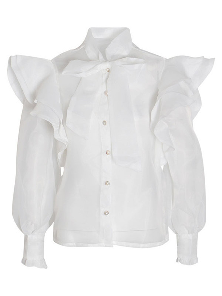 Milanoo Shirt For Women White Sheer Ruffles Embellished Collar Retro Long Sleeves Organza Tops
