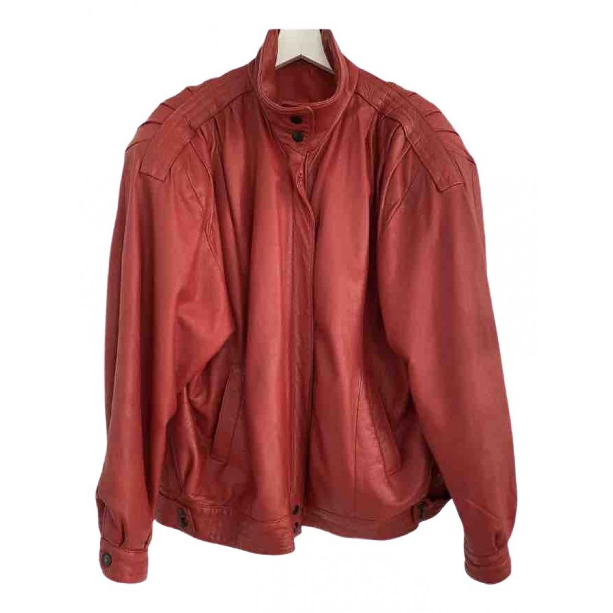 Non Signe / Unsigned Oversize Lederjacke in  Rot Leder