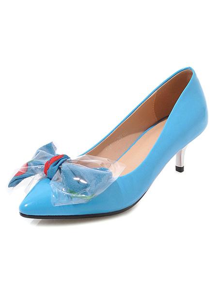 Milanoo Kitten Heel Pumps Women Pointed Toe Bow Slip On Pumps