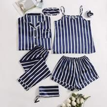 7 piezas conjunto de pijama de saten de rayas