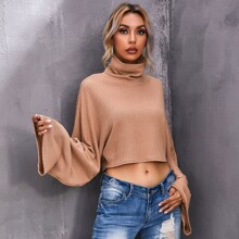 Funnel Neck Batwing Sleeve Crop Tee
