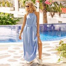 Blau  Mit Guertel  Einfarbig Bohmisch Kleider