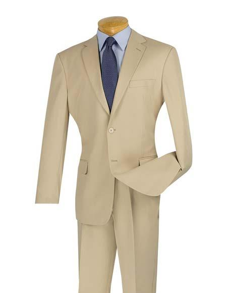 Men's Cheap Slim Fit 2 Button Beige Suit With Flat Front Pant
