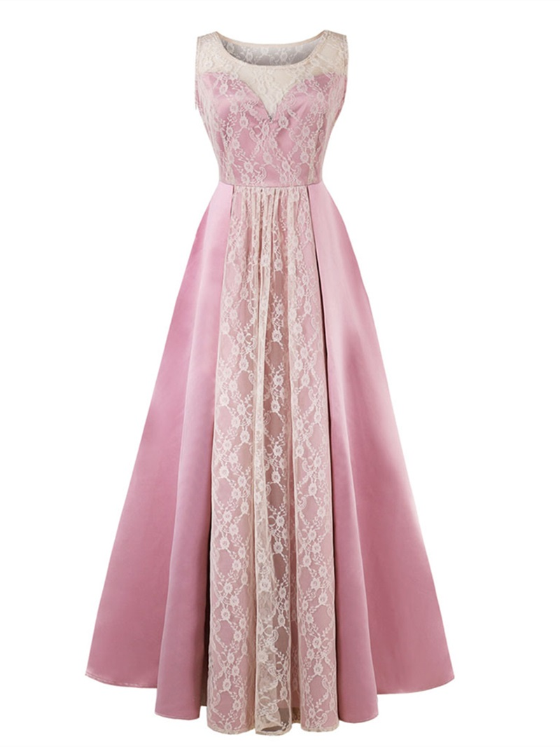 Ericdress Scoop Neck Lace Pink Prom Dress