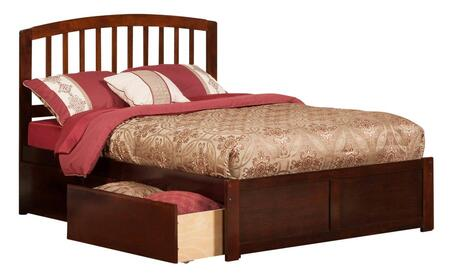 Richmond Collection AR8832114 Full Size Platform Bed with 2 Urban Bed Drawers  Casters  Flat Panel Foot Board  Slat Headboard  Hardwood Slat Kit and