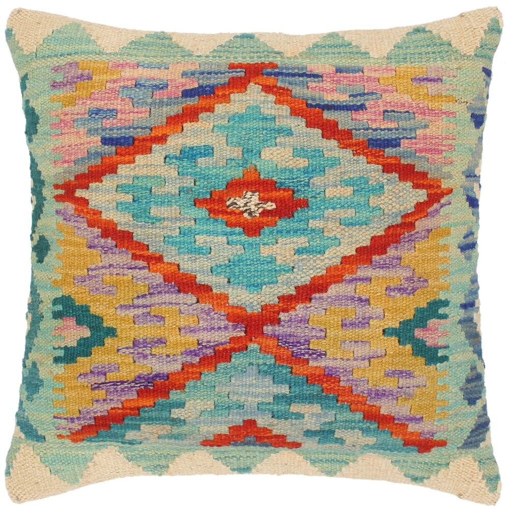 Rustic Leeanna Hand-Woven Turkish Kilim Pillow -18 in. x 18 in. (Polyester - 18 in. x 18 in. - Accent - Blue - Single)