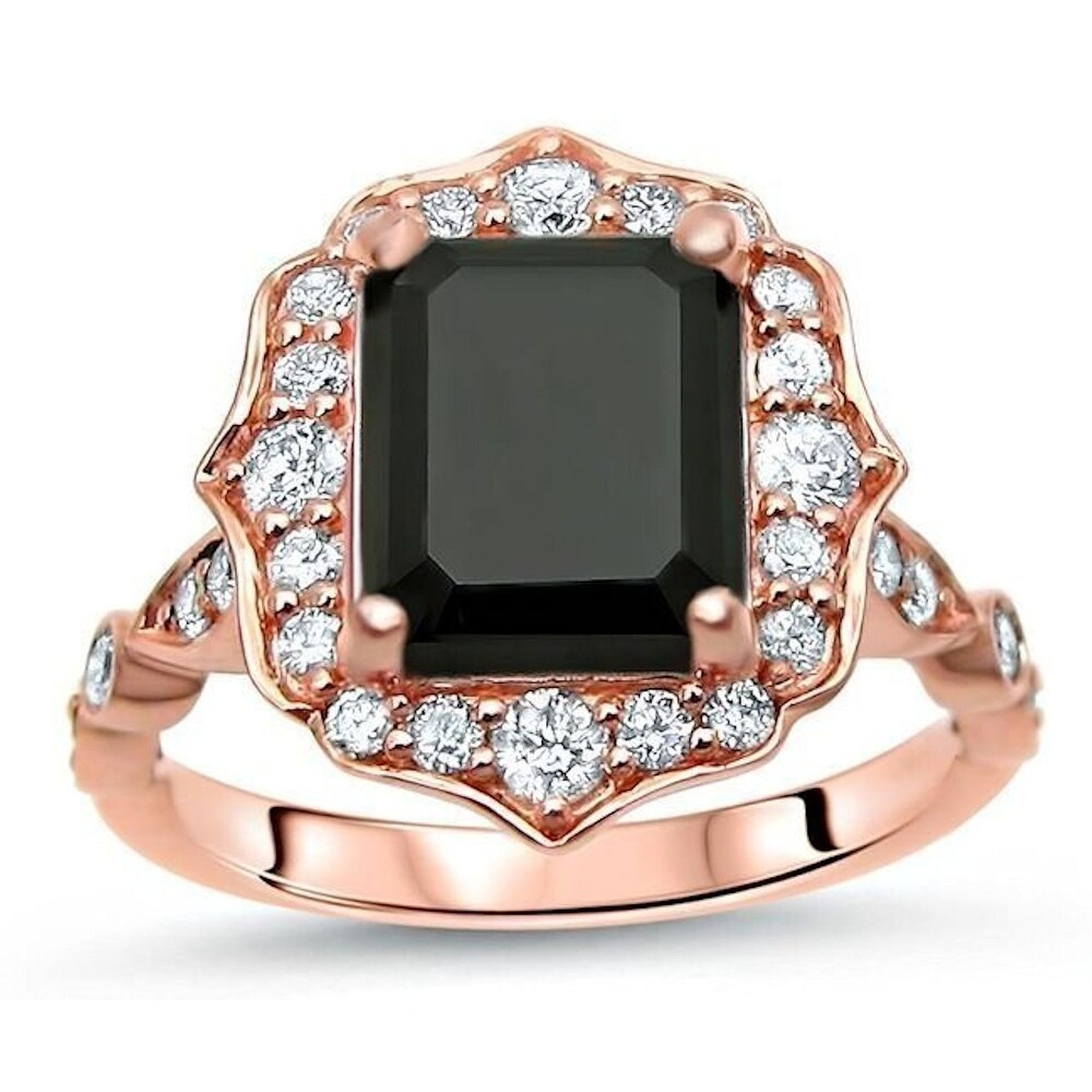 14k Rose Gold 3 & 1/2ct Emerald Cut Black Diamond Engagement Ring Vintage Style (8)