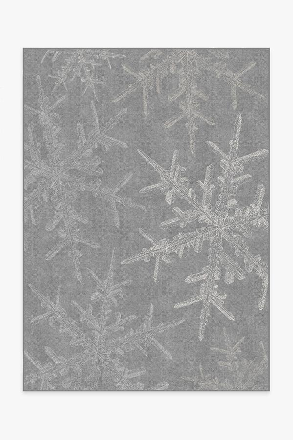 Washable Rug Cover & Pad | Snowflake Silver Rug | Stain-Resistant | Ruggable | 5'x7'
