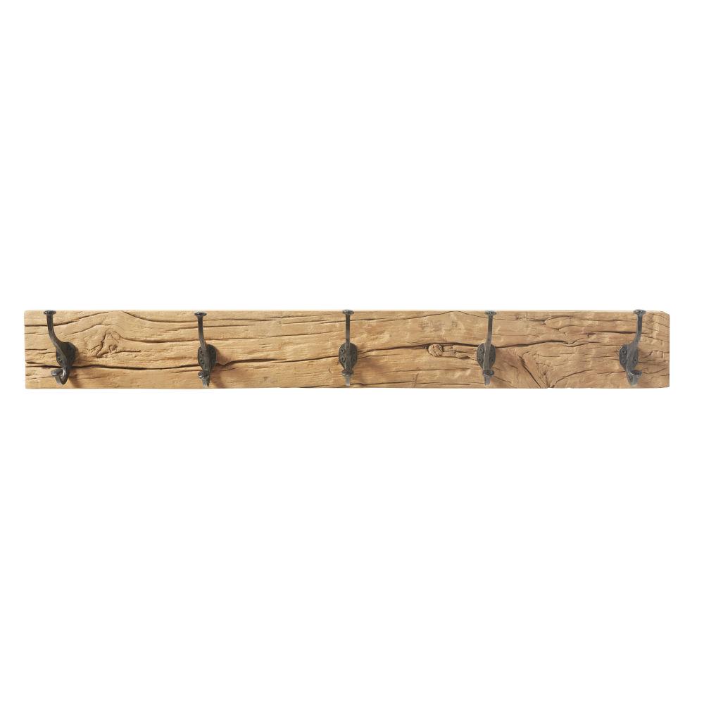 Garderobenleiste aus Recyclingholz mit 5 schwarzen Metallhaken