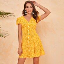 Ditsy Floral Print Button Front Flutter Sleeve Dress