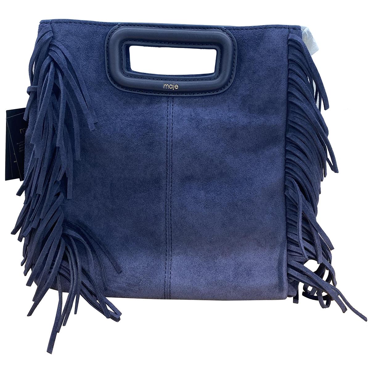 Maje Sac M Blue Suede handbag for Women N