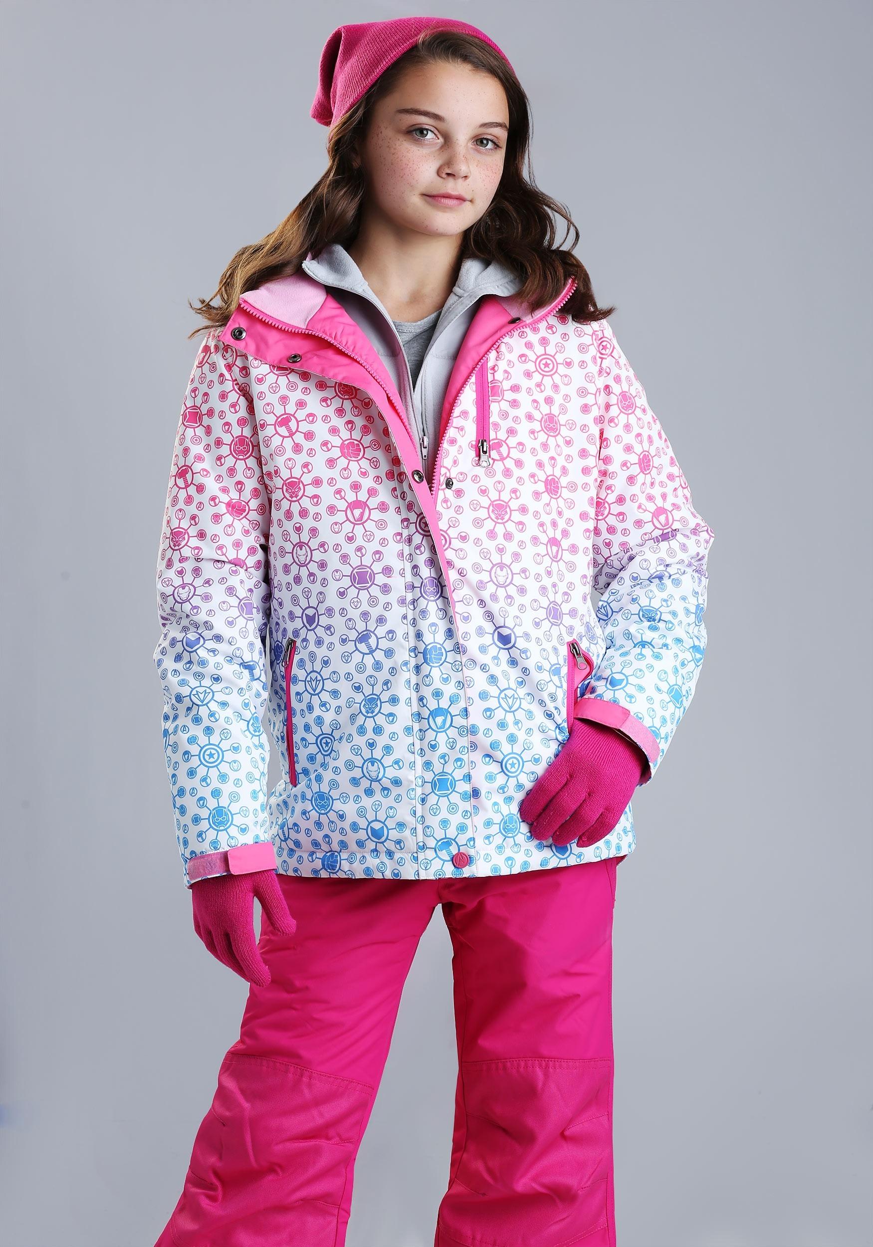 Marvel Avengers All Over Print Ski Coat for Girls