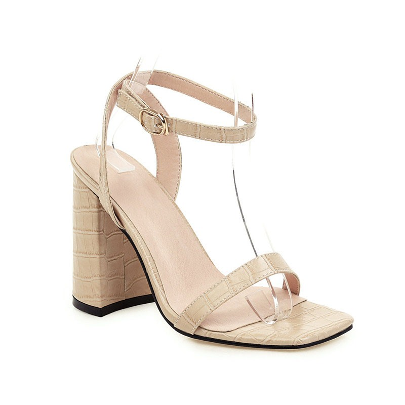 Ericdress Chunky Heel Square Toe Line-Style Buckle Casual Sandals