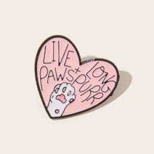 1pc Slogan Graphic Heart Design Brooch